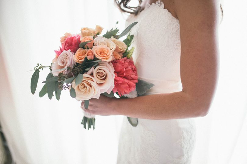 Bridal Bouquet Mother of Pearl Roses, Peach Spray Roses, Coral Peonies, Eucalyptus Floral by A...