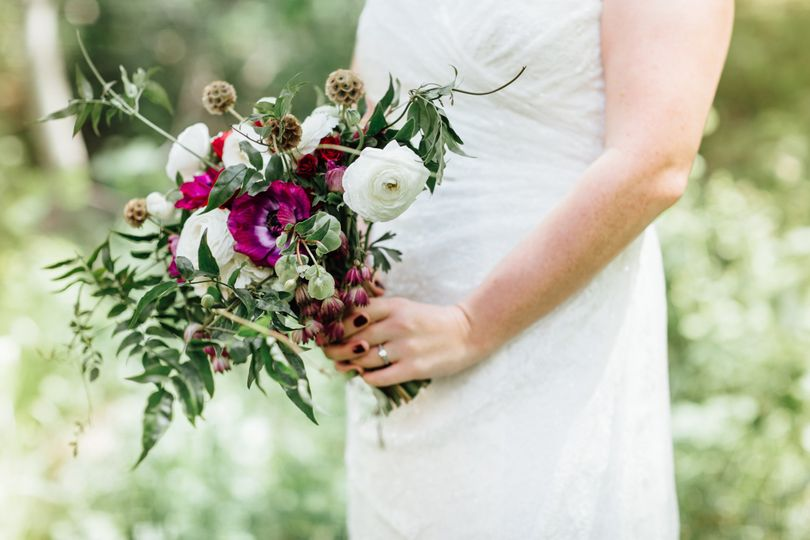 Wildflower Bridal Bouquet Ranuculus, Scabiosa Pod, Anenome, Spray Roses, Jasmine Vine Floral by A...