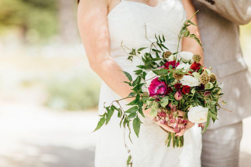 Wildflower Bridal Bouquet Ranuculus, Scabiosa Pod, Anenome, Spray Roses, Jasmine Vine Floral by A...