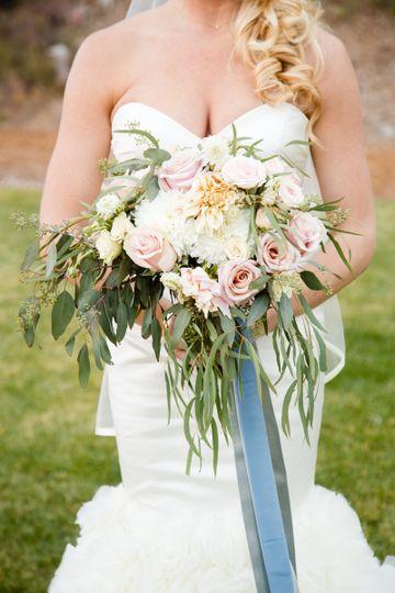 Bridal Bouquet Cafe de Lait Dahlias, Roses, Eucalyptus Floral by A Floral Affair Photo by Harmony...