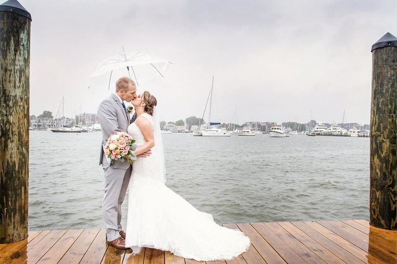 Emily & Matt on the docks in Annapolis, Photo by Hamilton Photography
