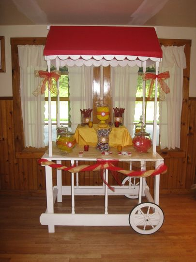 New twist on the candy buffet! Dressed to match your decor/theme. Rent our party cart to display...