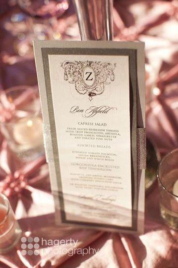 Wedding monogram menu card