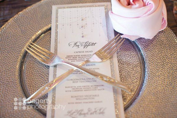 Glitter and rhinestone wedding menu