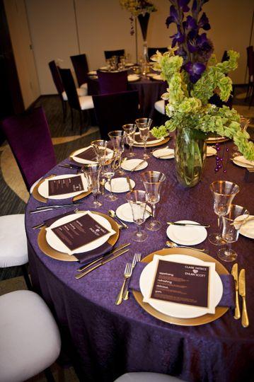 Modern purple and gold wedding