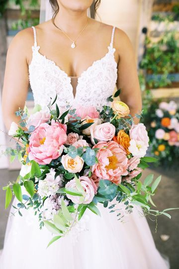 Bridal bouquet peonies