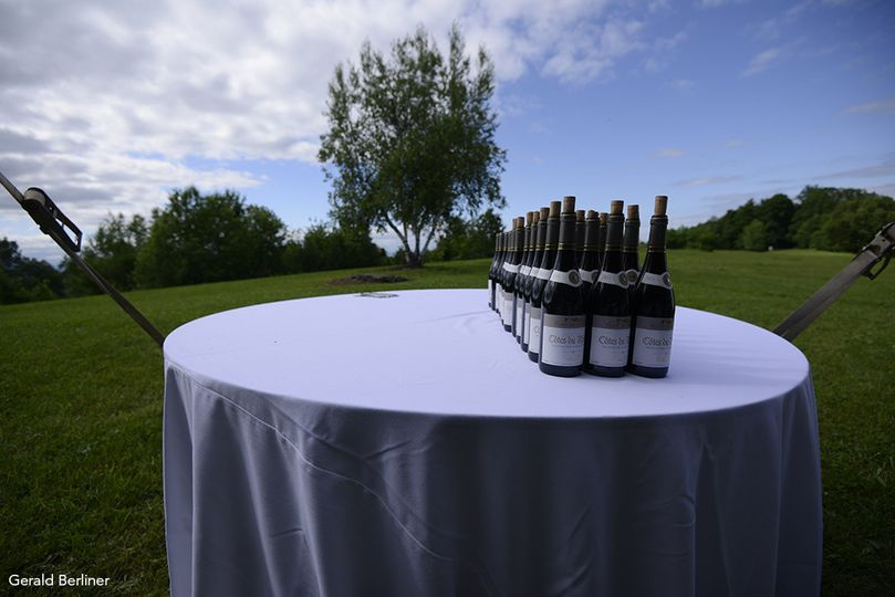 Table with bottle of champagne