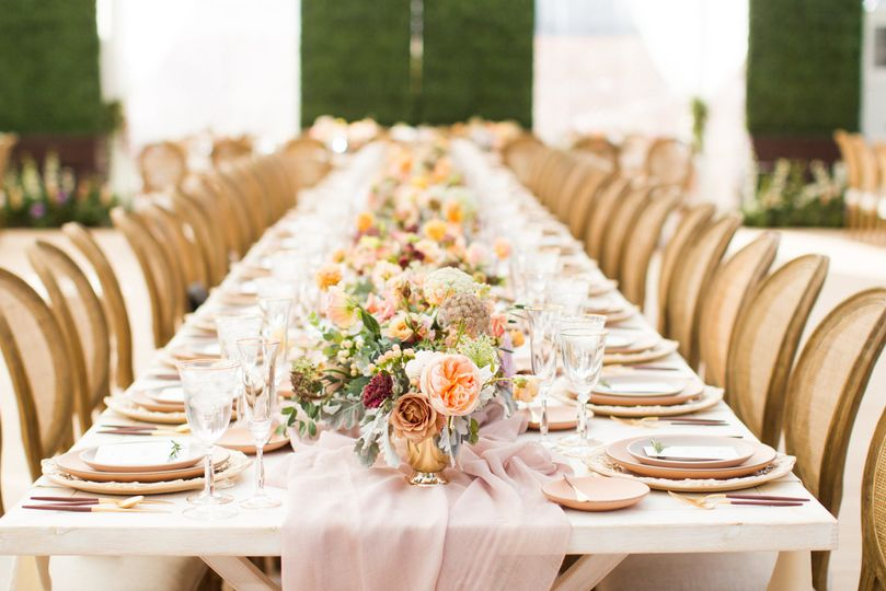 Table setting and floral arrangement