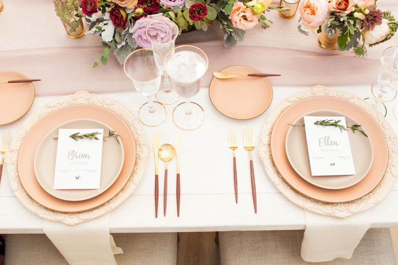 Table setting and menu cards