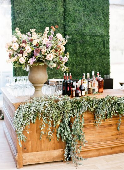 Floral decor for the bar