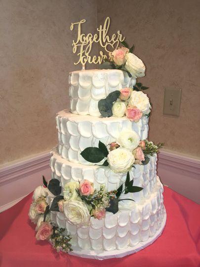 4-tier floral wedding cake