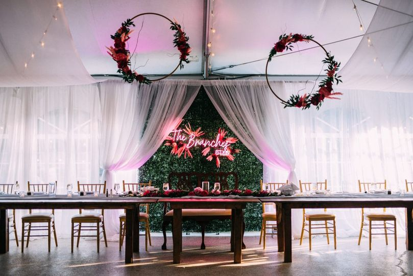 Head table in tent