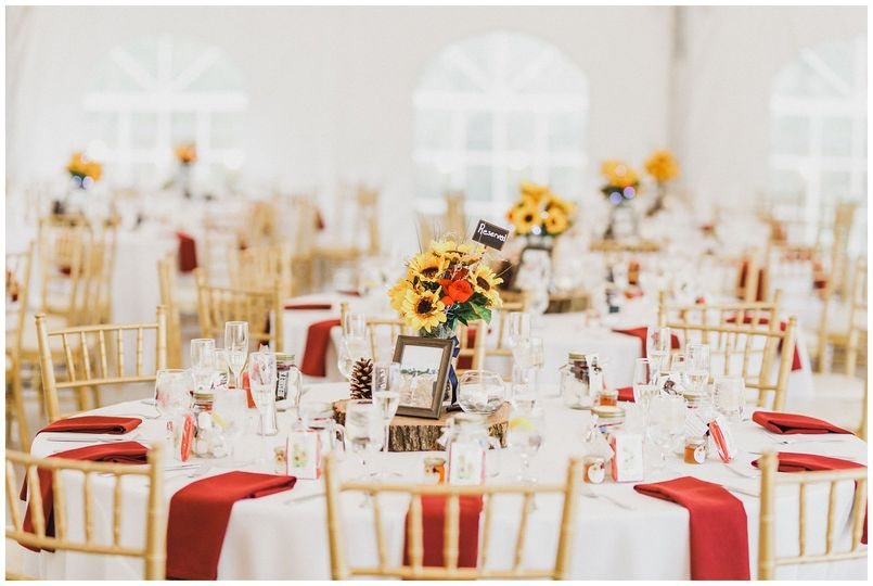 Table set up in tent