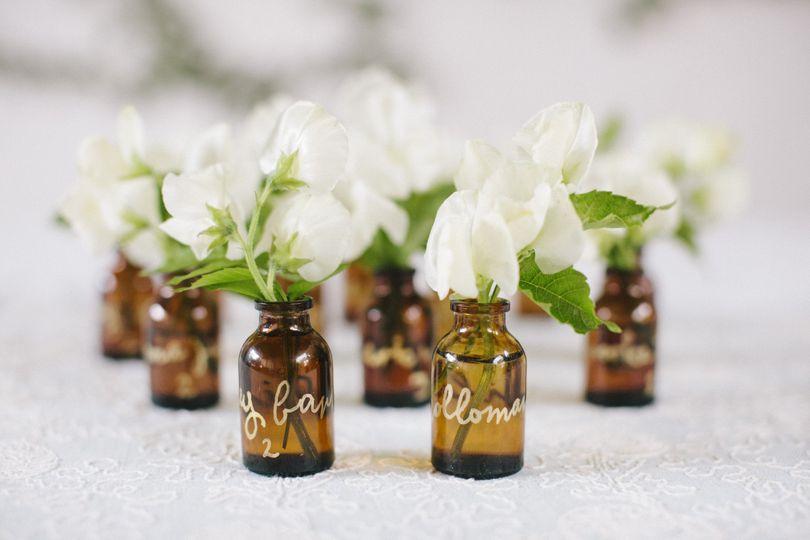 Bottled flowers centerpiece