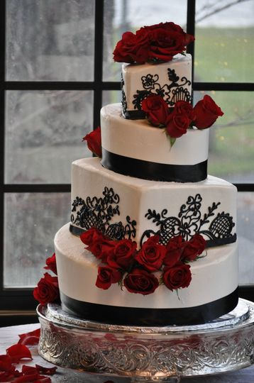 Red roses stripped in black