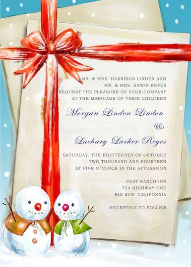 SNOW BALL WINTER WEDDING INVITATIONS HPI283:...