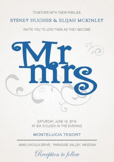 BLUE MR AND MRS WEDDING INVITATIONS HPI001:...