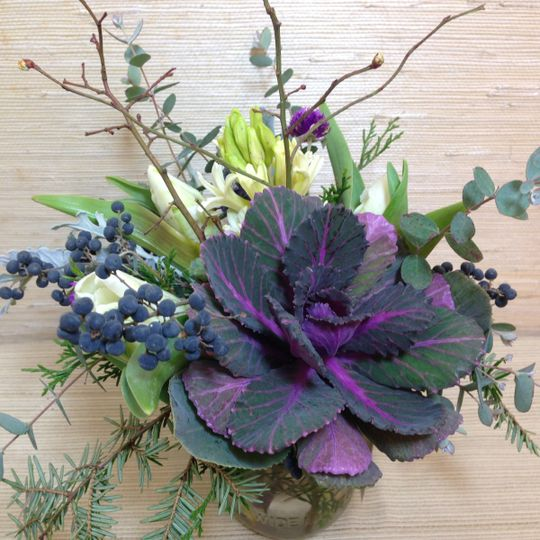 Winter bouquet--local, seasonal in piedmont NC: Flowering kale, hyacinth, tulip, blueberry branches,...