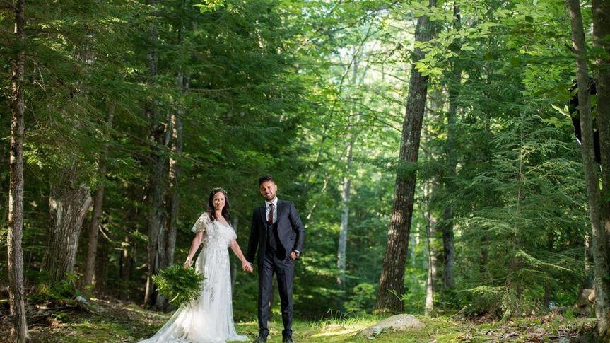 Wedding couple along the path