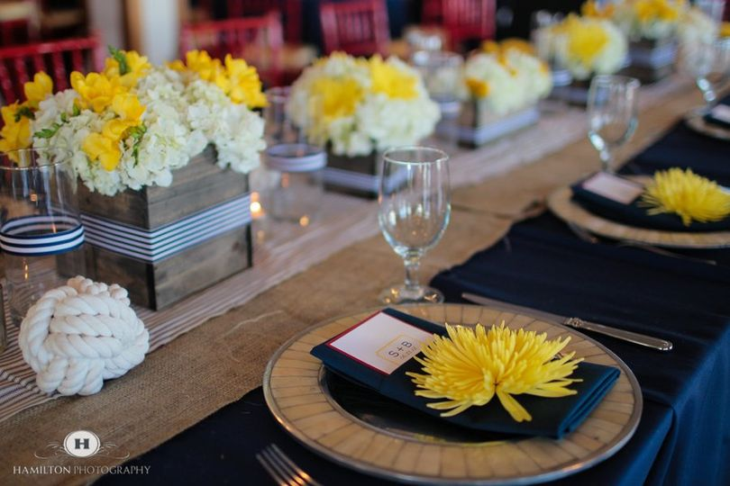 Yellow flowers on the plates