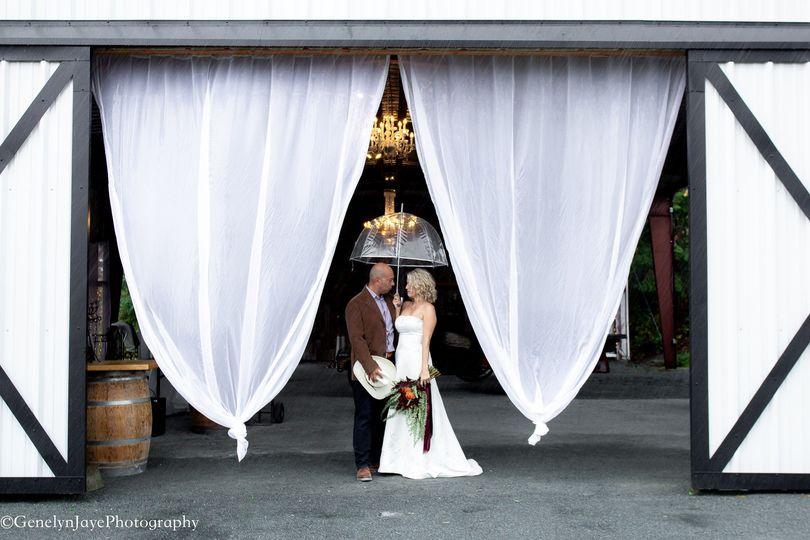 Pavilion draped in white