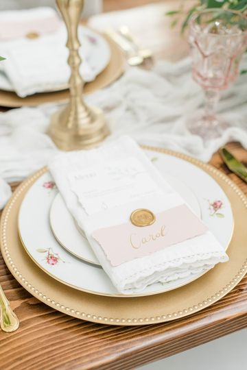 Place setting in gold and blush