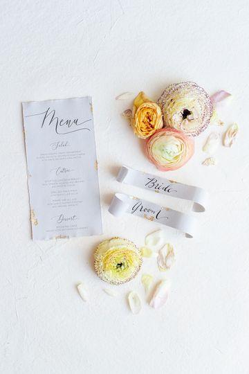 Gray wedding menu and place card