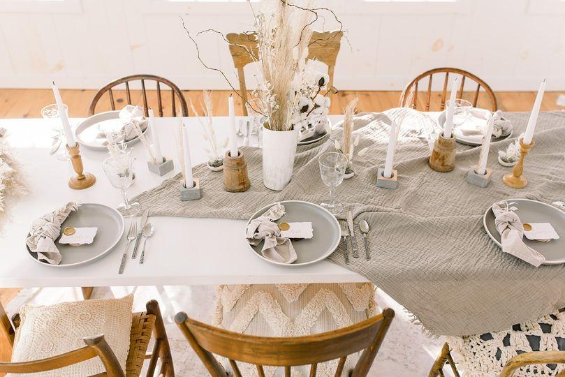Gray and cream wedding setting
