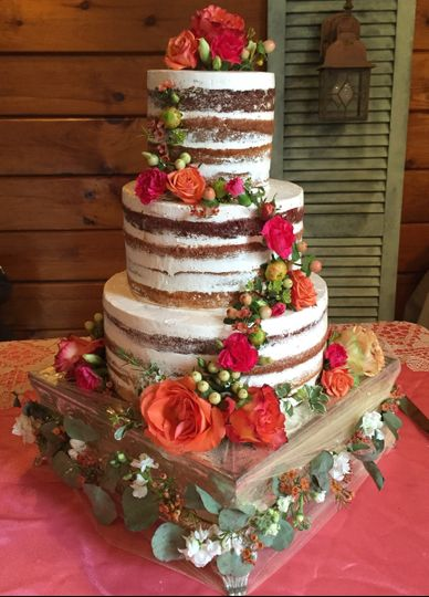 half naked boho wedding cake