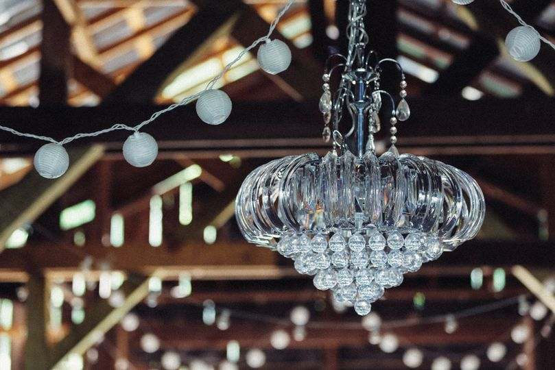 Chandelier and string lights