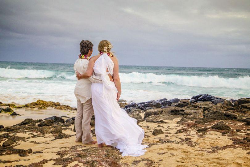 Enjoying the site of their wedding