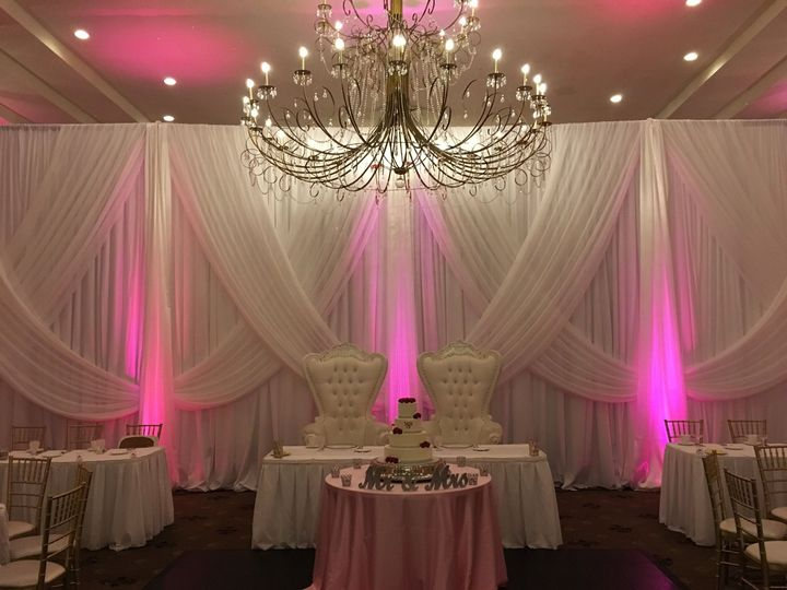 Chandelier and drapes