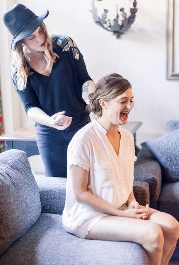 Bride behind the scenes
