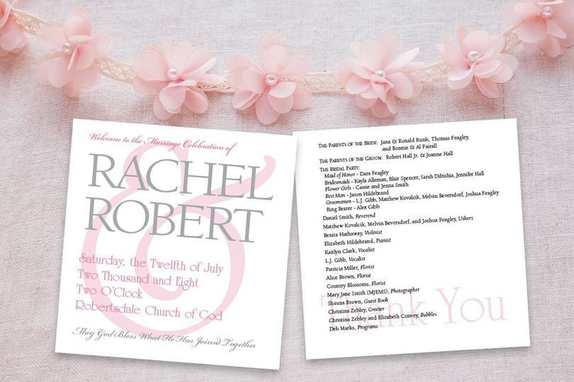 Invite using wedding colors