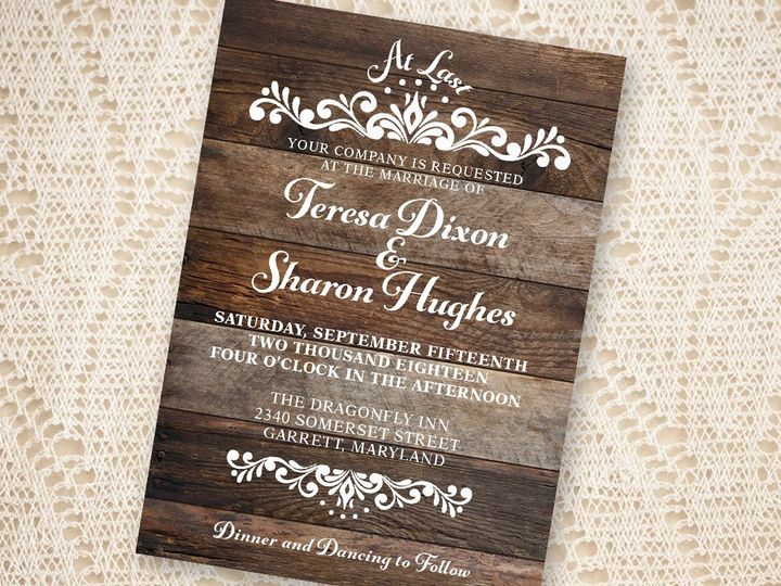 Tmx 1532380086 41a41d5a02abbfc1 1532380085 39bed4c064464da5 1532380082198 1 WoodAtLast2 New Cumberland, PA wedding invitation