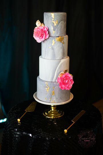 Modern Grey and White Marble Wedding Cake with Gold Leaf