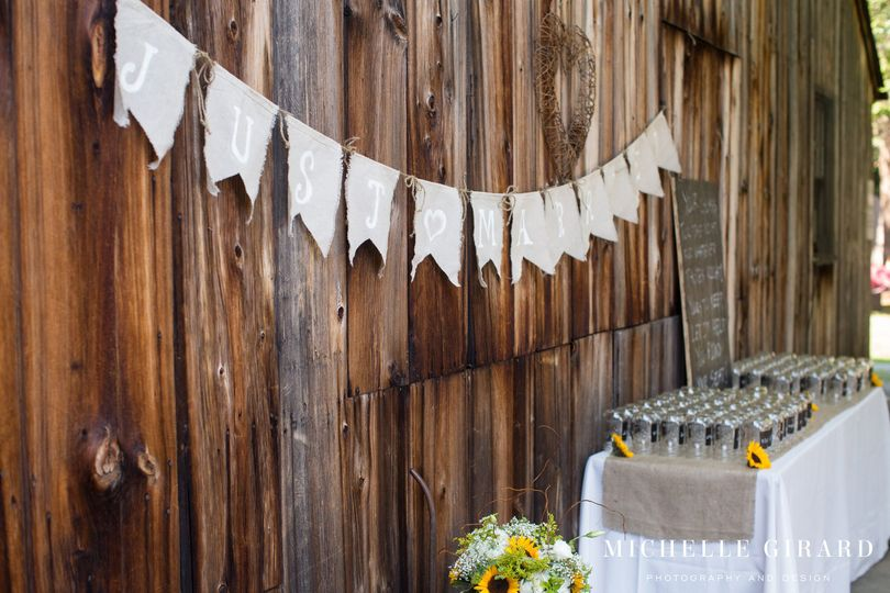 """Venue: Webb Barn, Wethersfield, CTPhoto Credit: Michelle Girard Photography""""Just Married"""" Banner..."""