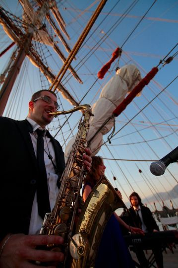 Italian Swing and Jazz Band performing on board of sailing yacht Nosta Signora del Vento, Italian...