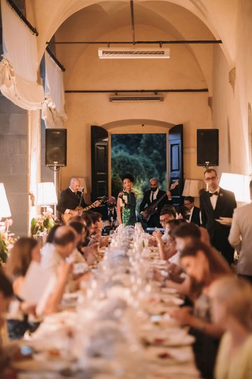 Wedding Party Band performing at Villa San Michele, Florence.Wedding by Miracle WeddingsPhoto by...