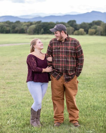 Engagement portrait in field
