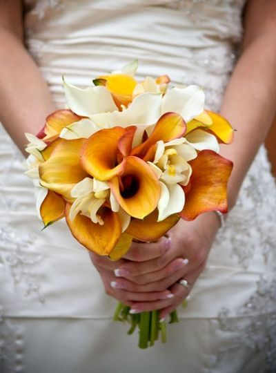 Mango and white cala lily bouquet.