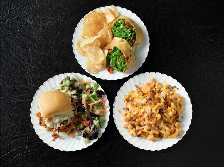 Sliders, wraps, mac and cheese