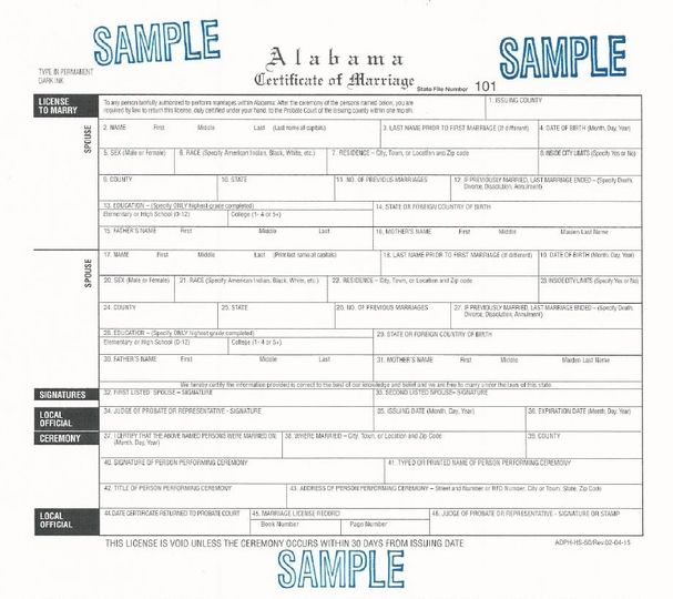 Sample Wedding License, Call Madison County Court House for License Information - 256-532-3342