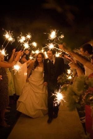Bride and Groom exit beneath sparkler glow