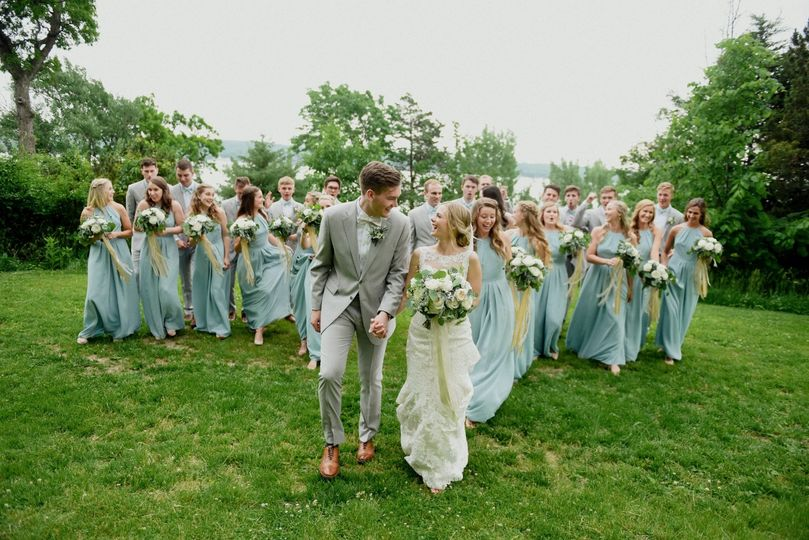 Couple and wedding party