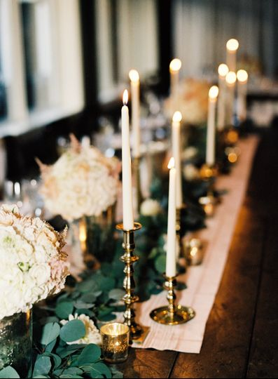 Candles and white flowers