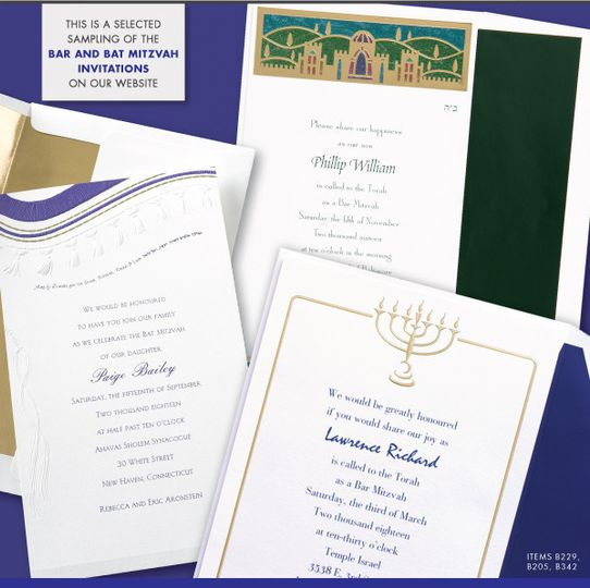 This is a sample of our bar and bat mitzvah invitations