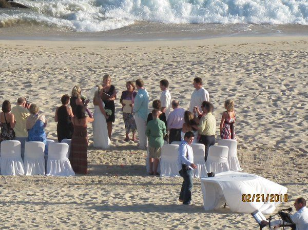 Dreams Los Cabos beach wedding during the wedding waves in the background