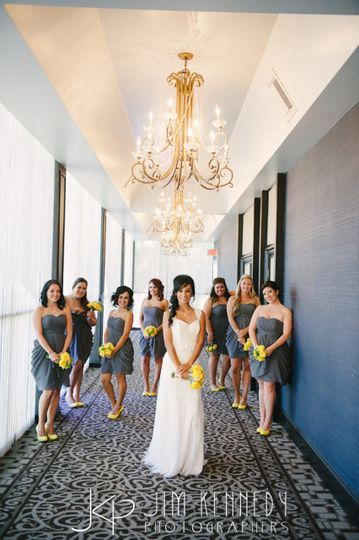 Bridal party in hallway