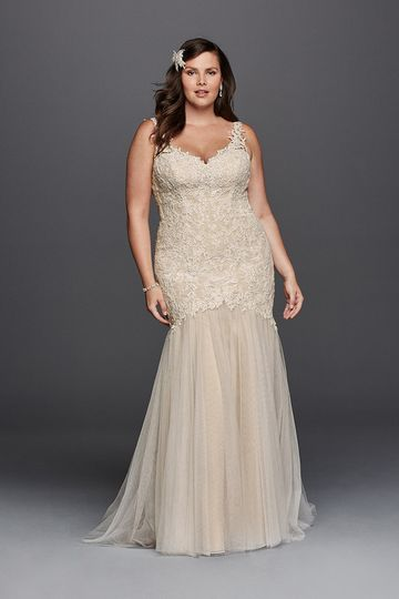 Galina Signature Style 9SWG723		Beaded Venise lace trumpet gown with tank straps, open illusion...